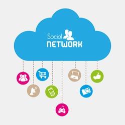 social network icons over beige background vector illustration