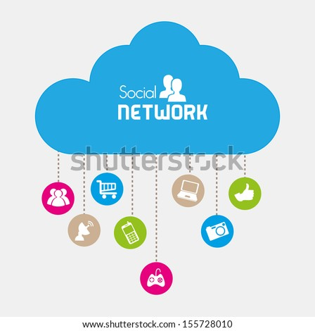 social network icons over beige background vector illustration