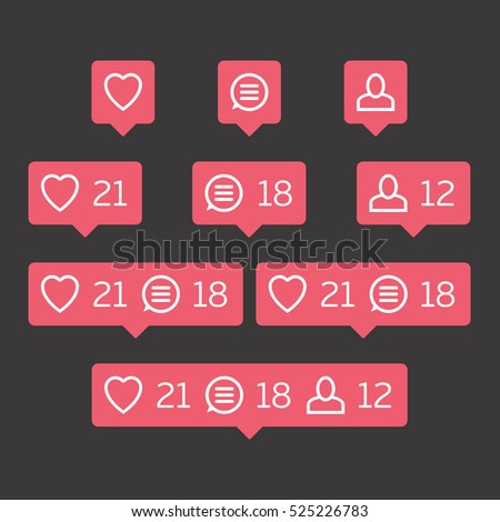 Social network icons pack on black background. Like, comment, follow. Notification Tooltip with heart, user, speech bubble, counter.
