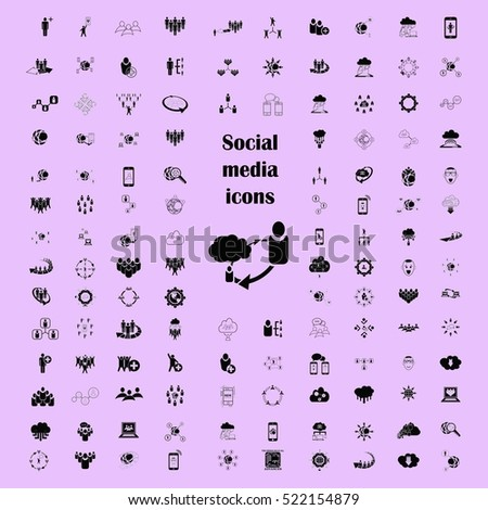 social network icons set, Friends icons set, Group of people icons set, vector illustration. Flat design style