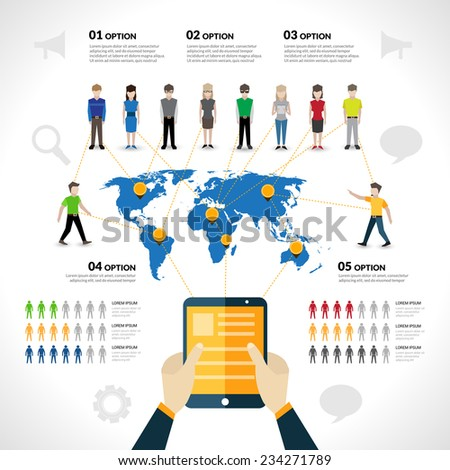 Social network infographics set with people avatars options and world map vector illustration