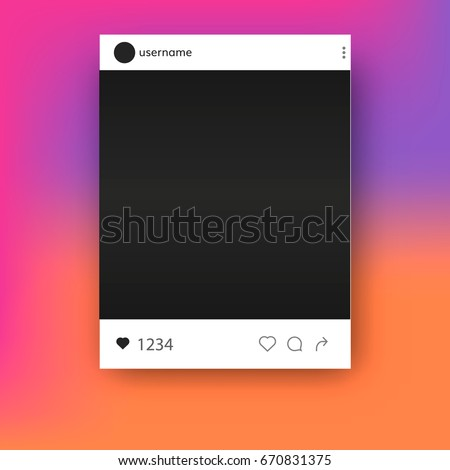 Social  network Instagram post  photo frame  mockup  vector quote template