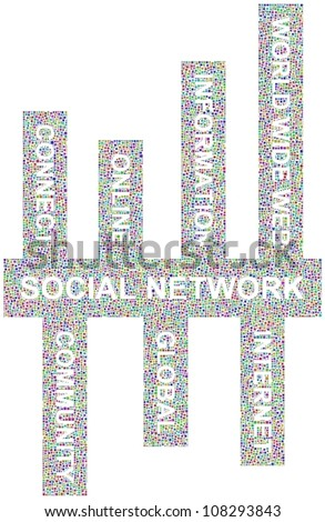Social Network keywords in a mosaic of little squares