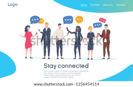 Social Network Landing Page Template. Group of Young People Characters Chatting Using Smartphone for Website or Web Page.