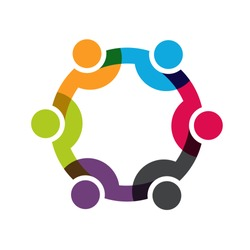 Social Network logo, Group of 6 people business men