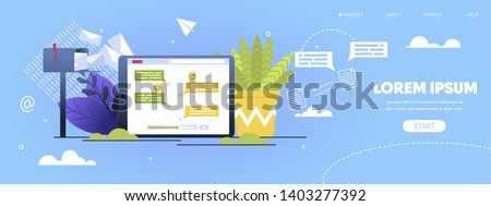 Social Network Messaging, Business Mailing Service Carton Vector Web Banner, Landing Page Template. Internet Users Messages on Tablet Screen, Postbox with Paper Letters and Flowerpot Illustration
