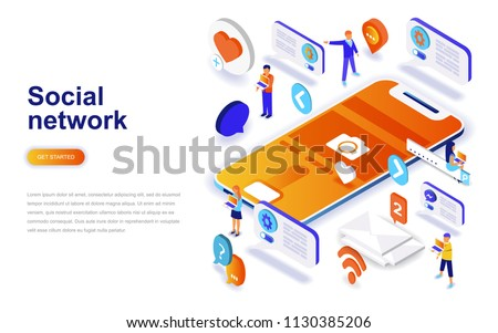 Social network modern flat design isometric concept. Communication and people concept. Landing page template. Conceptual isometric vector illustration for web and graphic design.