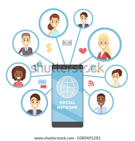Social network on smartphone. Sharing common interests.
