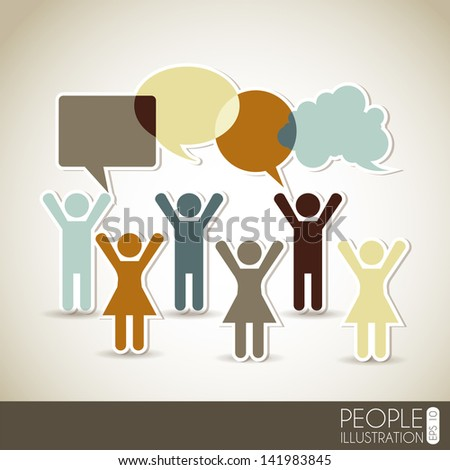 social network over beige background vector illustration