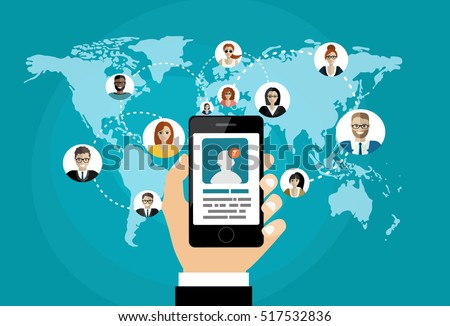 Social network, people connecting all over the world. #517532836