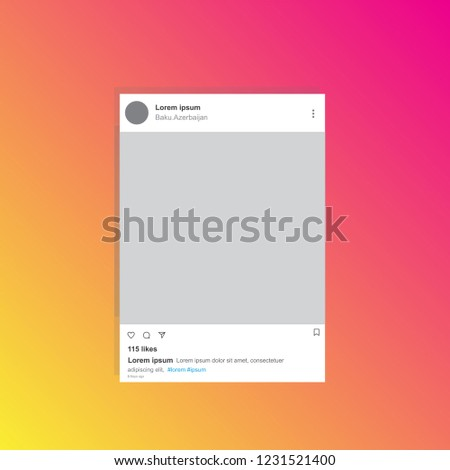 Social network photo frame on smart phone. Inspired by Instagram. Decorative template framework. Insert your picture. Vector illustration.