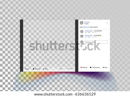 Social network photo frame. Post template framework. Insert your picture. Vector illustration. Isolated on a transparent background