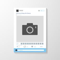 Social network photo frame vector illustration. Twitter. Mock up Vector illustration