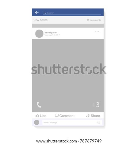 Social network photo, post frame vector illustration. Inspired by Facebook and other social resources. Mock up Vector illustration Modern design of news. Vector illustration