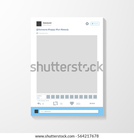 Social network post frame. Inspired by Twitter and other social media resources. Vector illustration