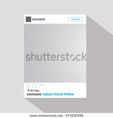 Social network post frame with flat design shadow. Vector illustration