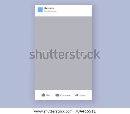 Social network post place for photo mockup template smartphone. Social network post frame isolated with place for text and photo and like comment