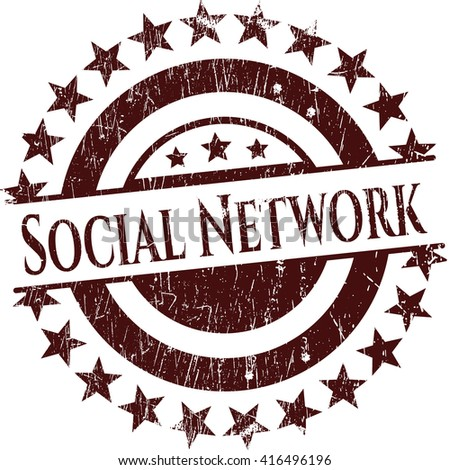 Social Network rubber grunge stamp
