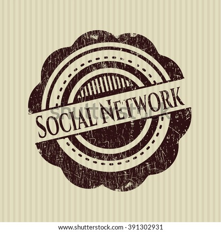 Social Network rubber seal with grunge texture