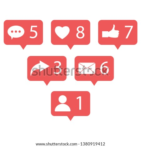 Social network set. Message, thumb up, speech bubble, phone, heart, sms, letter, human icon. Vector flat design
