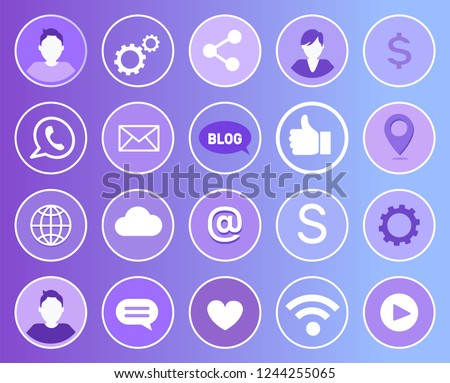 Social network signs and isolated line art icons set. Man and gears, globe and dollar money, thumb up like. Wifi and heart, cloud and chat box vector