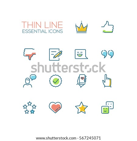 Social Network Signs - modern vector simple thin line design icons and pictograms set with accent color. Crown, like, dislike, post, message, quote, heart, emoticon. Material design concept symbols