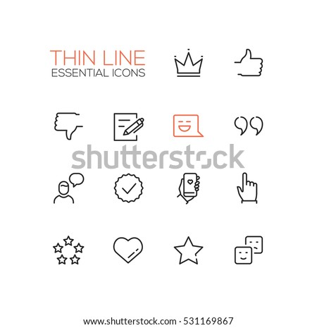 Social Network Signs - modern vector simple thin line design icons set. Crown, like, dislike, post, message, quote, chat, check, phone, click star heart emoticon