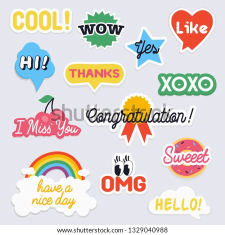 Social network stickers with notes. Vector illustrations for online communication. Design elements, circle business card, paper sheet, information, text  for your design.