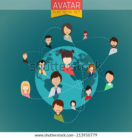 Social Network stylish Avatar Set of girls and guys and women and men connected. Vector flat design illustration easy editable for Your design.