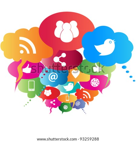 social network symbols in...