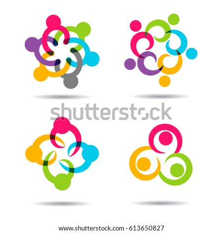 Social Network Team Partners Family Friends logo design flat vector template. People together union symbol of friendship, partnership. Business Teamwork cooperation icon. Community kids group logotype