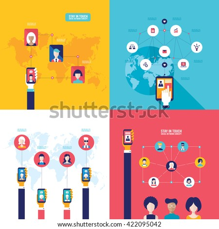 Social Network Technology Banner set People using various electronic devices Tablet and Mobile phone applications #422095042