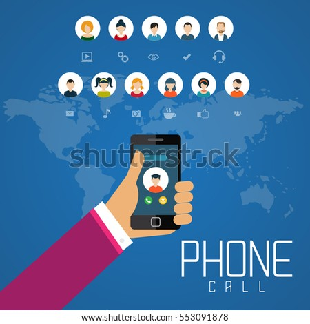 Social Network Technology of People using various electronic devices Mobile phone applications. Vector illustration.