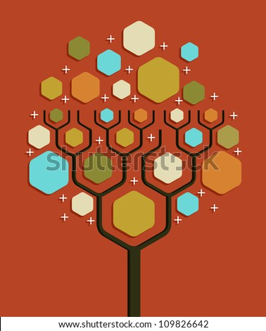Social network tree business blank diagram layout. Vector illustration layered for easy manipulation and custom coloring.