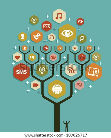 Social network tree business team marketing plan. Vector illustration layered for easy manipulation and custom coloring.