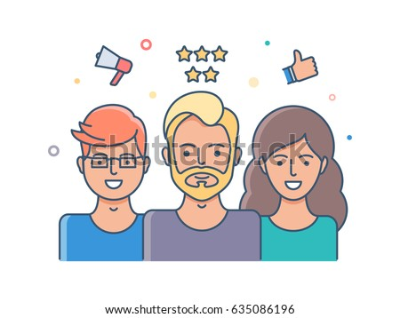 Social network, user reviews illustration