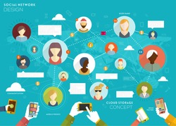 Social Network Vector Concept. Flat Design Illustration for Web Sites Infographic Design.