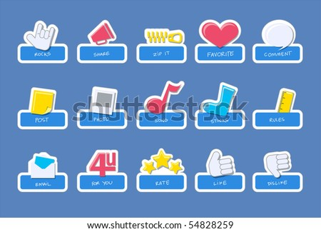 social network vector icons. scrapbook style illustration.
