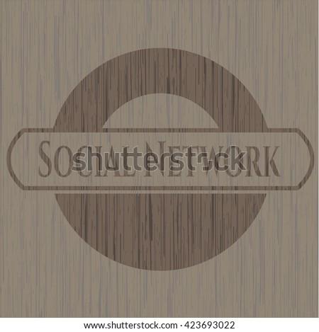 Social Network vintage wood emblem