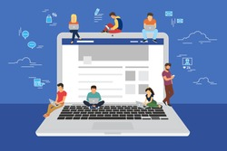 Social network web site surfing concept illustration of young people using mobile gadgets such as smarthone, tablet pc and laptop to be a part of online community. Flat guys and women on big notebook