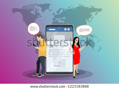 Social network web site surfing concept illustration of young people using mobile gadgets such as smartphone, tablet pc part of online community. Flat style. Vector illustration. #1221583888