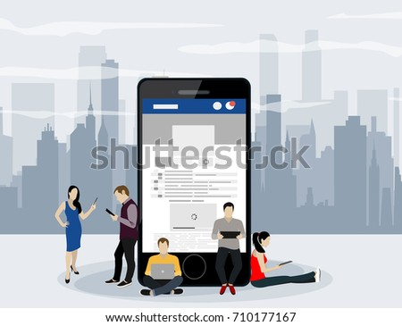Social network web site surfing concept illustration of young people using mobile gadgets such as smartphone, tablet pc part of online community. Flat style. Vector illustration. #710177167