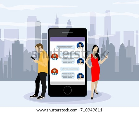 Social network web site surfing concept illustration of young people using mobile gadgets such as smartphone, tablet pc part of online community. Flat style. Vector illustration. #710949811