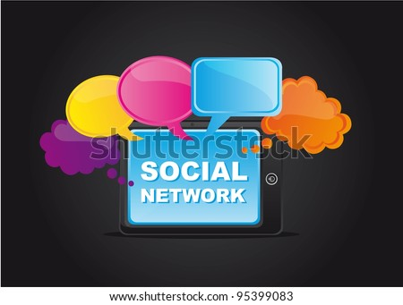 social network with thought bubble over black background. vector