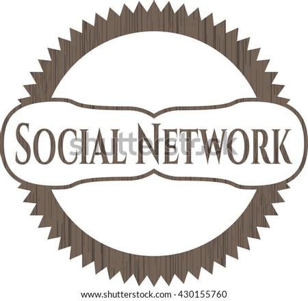 Social Network wood emblem. Vintage.