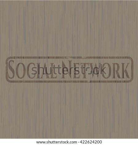 Social Network wooden emblem. Vintage.