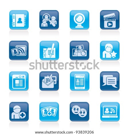 social networking and communication icons - vector icon set