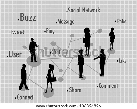 Social networking background with peoples connected with social network . EPS 10. Social networking and social media concept.