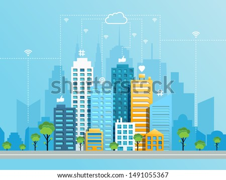 Social networking city concept with modern cityscape and like heart at hashtag symbols moving from buildings to cloud using wifi. Vector illustration