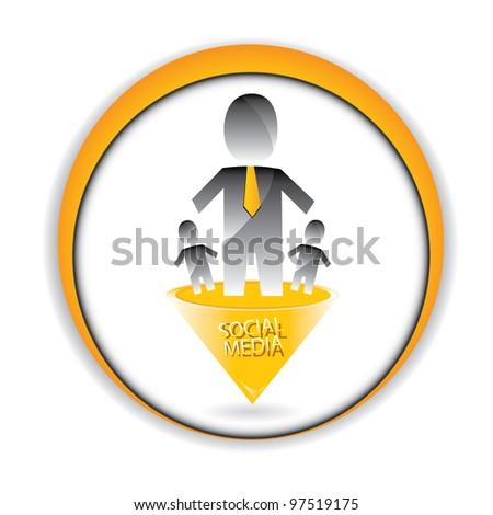 social networking color abstract logo. vector illustration of social media. - stock vector
